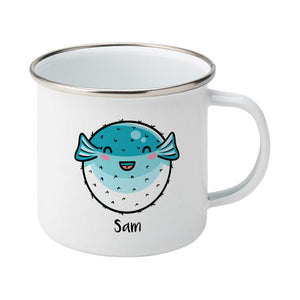 Kawaii cute turquoise and white puffer fish with a name design on a silver rimmed white enamel mug, showing RHS