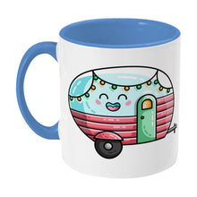 Load image into Gallery viewer, Kawaii cute vintage pastel coloured caravan on a two toned blue and white ceramic mug, showing LHS