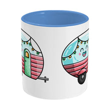 Load image into Gallery viewer, Kawaii cute vintage pastel coloured caravan on a two toned blue and white ceramic mug, side view