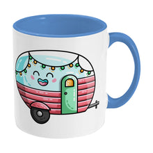 Load image into Gallery viewer, Kawaii cute vintage pastel coloured caravan on a two toned blue and white ceramic mug, showing RHS