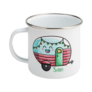Kawaii cute vintage blue, pink and green caravan with a name design on a silver rimmed white enamel mug, showing LHS