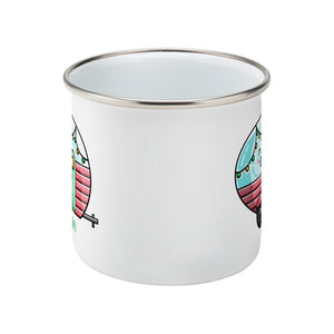 Kawaii cute vintage blue, pink and green caravan with a name design on a silver rimmed white enamel mug, side view