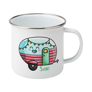 Kawaii cute vintage blue, pink and green caravan with a name design on a silver rimmed white enamel mug, showing RHS