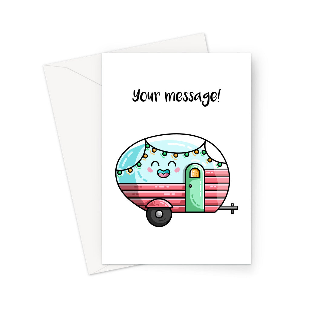 Personalised greeting card of a kawaii cute vintage pastel coloured caravan on a white background