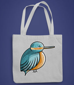 Cute turquoise and orange kingfisher design on a recycled cotton and polyester tote bag