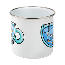 Load image into Gallery viewer, Cute cat watching orange fish swimming in a glass teacup design on a silver rimmed white enamel mug, middle view