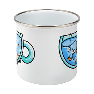 Cute cat watching orange fish swimming in a glass teacup design on a silver rimmed white enamel mug, middle view