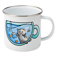 Load image into Gallery viewer, Cute cat watching orange fish swimming in a glass teacup design on a silver rimmed white enamel mug, showing RHS
