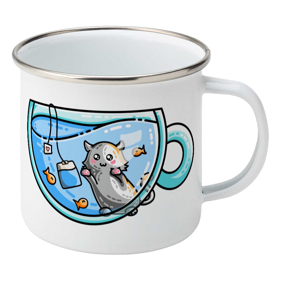 Cute cat watching orange fish swimming in a glass teacup design on a silver rimmed white enamel mug, showing RHS