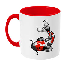 Load image into Gallery viewer, Kawaii cute orange, black and white koi carp fish design on a two toned red and white ceramic mug, showing LHS