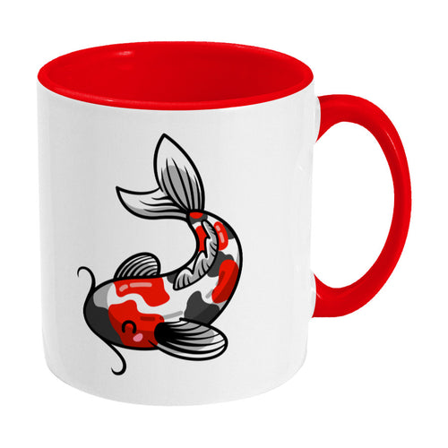 Kawaii cute orange, black and white koi carp fish design on a two toned red and white ceramic mug, showing RHS