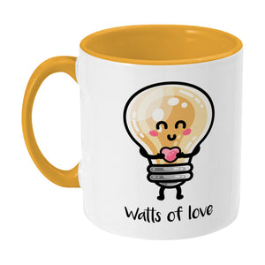 Kawaii cute lightbulb holding a heart design on a two toned yellow and white ceramic mug, showing LHS
