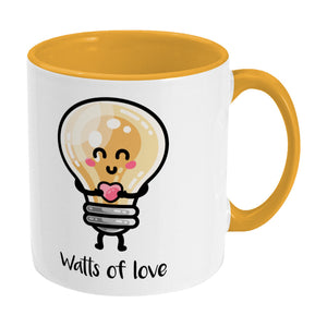 Kawaii cute lightbulb holding a heart design on a two toned yellow and white ceramic mug, showing RHS