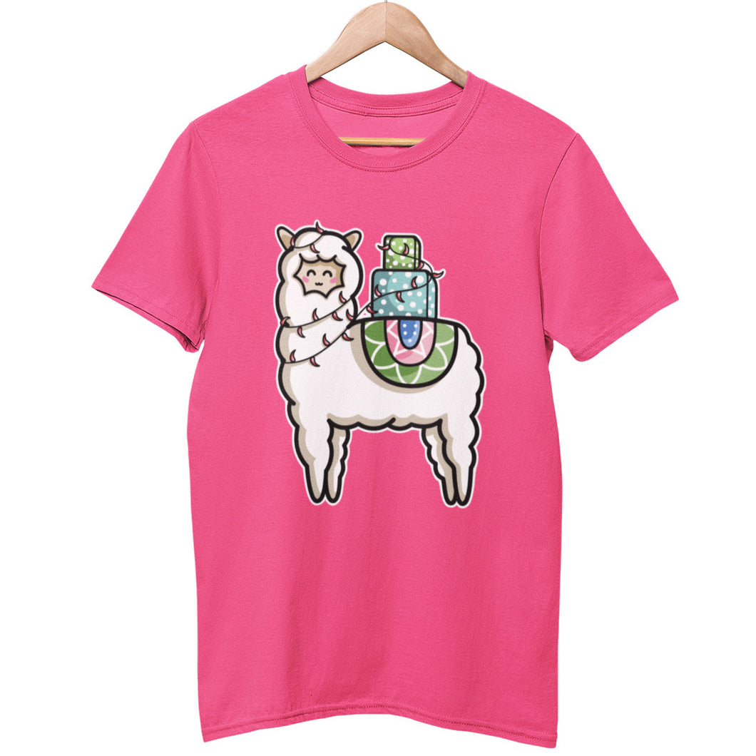 A pink unisex crewneck t-shirt on a wooden hanger with a design on its chest of a white llama with a stack of presents on its back and a string of chilli lights