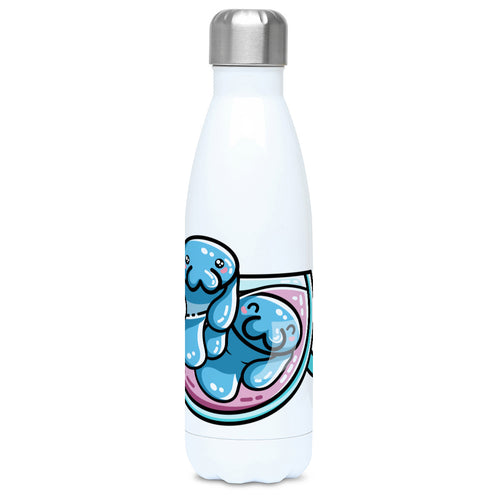 two kawaii cute blue manatees swimming in a glass teacup design on a white metal insulated drinks bottle, lid on