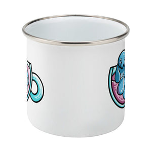Two kawaii cute blue manatee swimming in a glass teacup design on a silver rimmed white enamel mug, side view