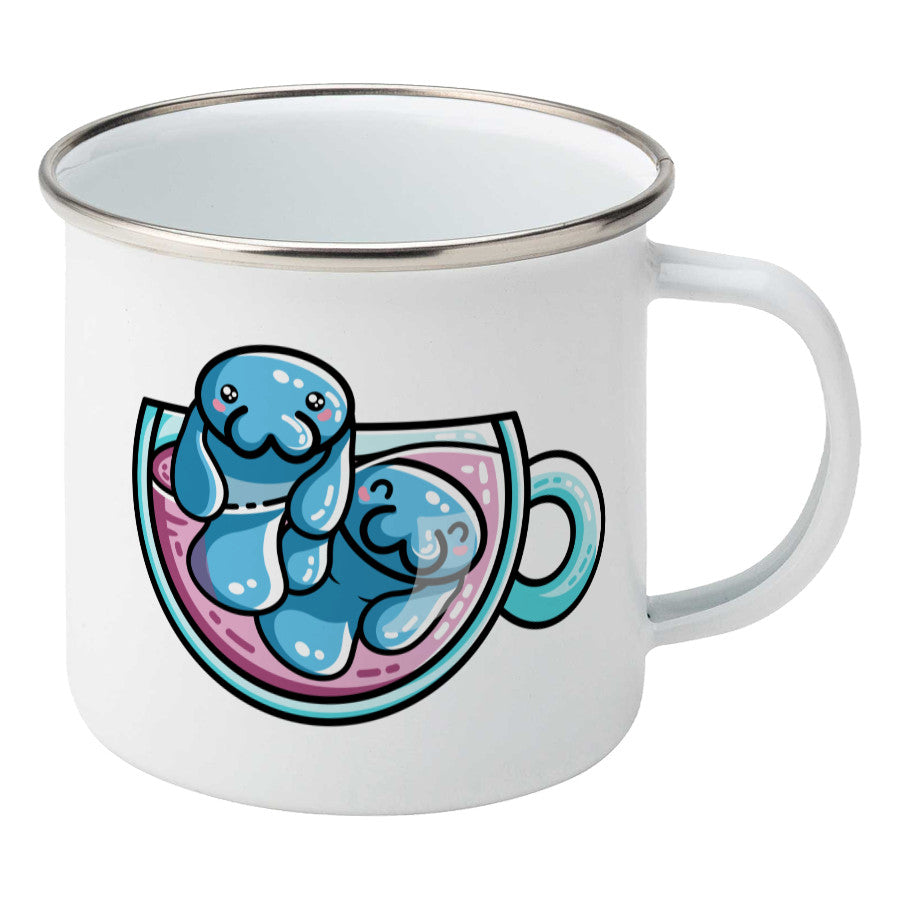 Two kawaii cute blue manatee swimming in a glass teacup design on a silver rimmed white enamel mug, showing RHS