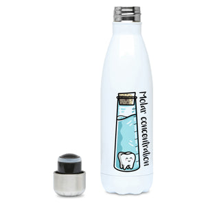 A corked chemistry vessel of liquid containing a molar tooth design on a white metal insulated drinks bottle, lid off