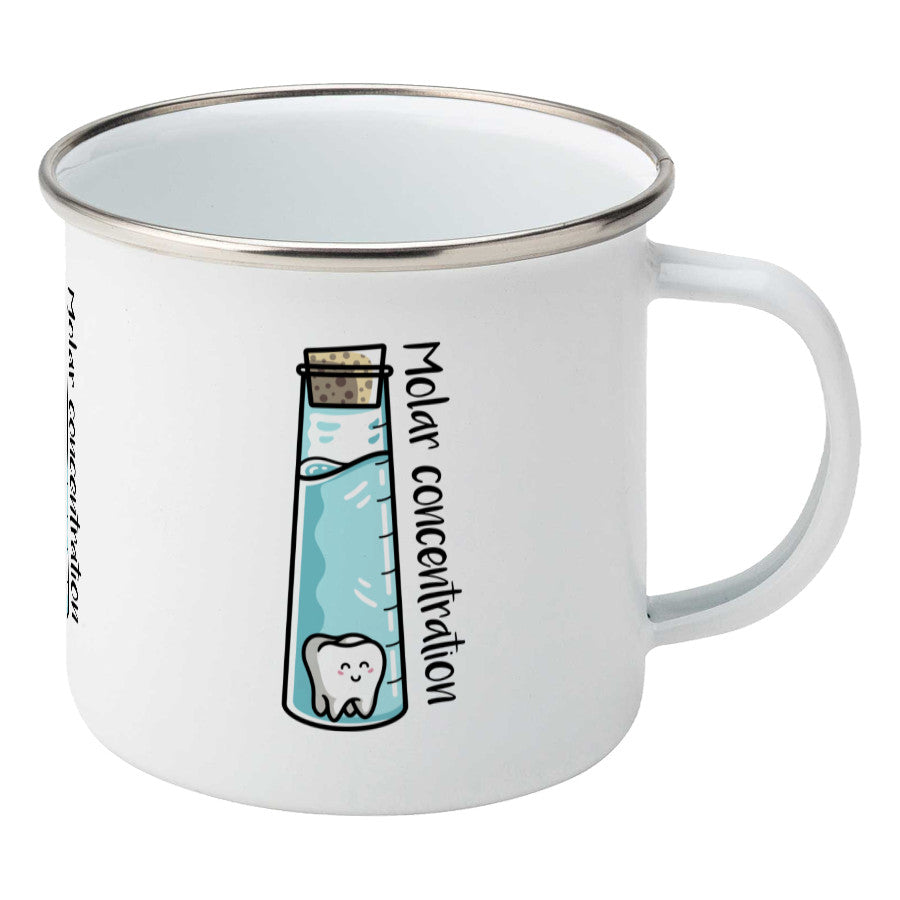 A corked chemistry vessel of liquid containing a molar tooth design on a silver rimmed white enamel mug, showing RHS
