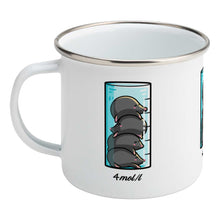 Load image into Gallery viewer, A chemistry beaker filled with 4 cute moles design on a silver rimmed white enamel mug, showing LHS