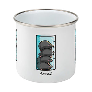A chemistry beaker filled with 4 cute moles design on a silver rimmed white enamel mug, side view