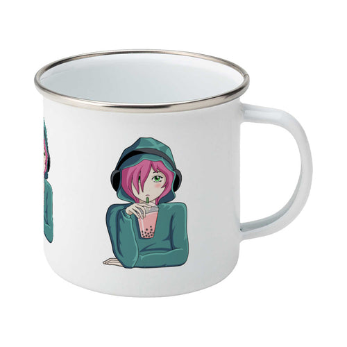 Anime girl wearing headphones and drinking boba design on a silver rimmed white enamel mug, showing RHS