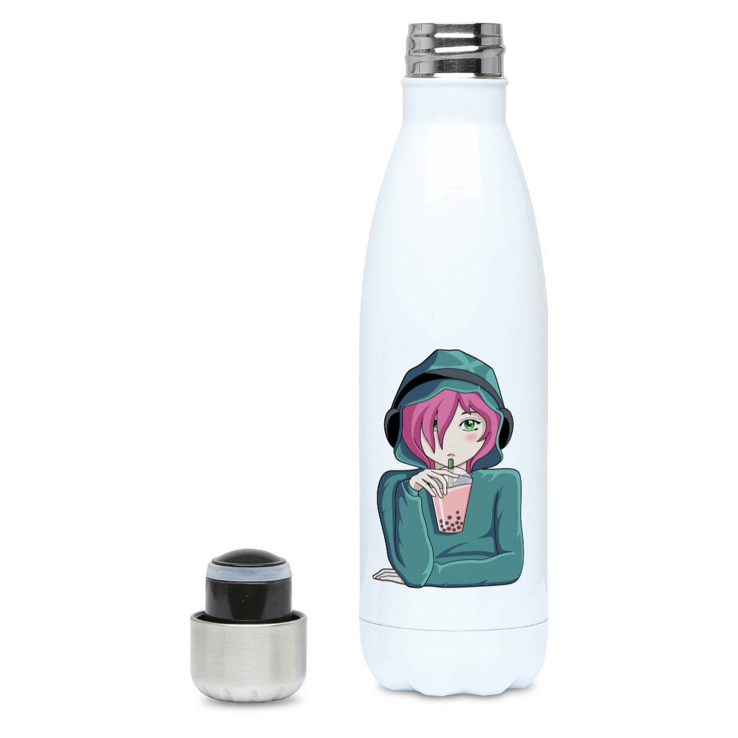 Anime girl wearing headphones and drinking boba design on a white metal insulated drinks bottle. Lid off