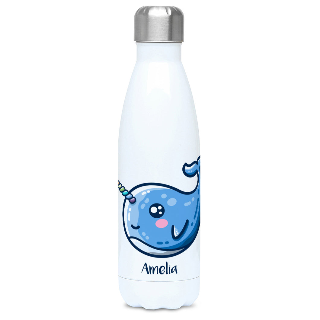 White stainless steel drinks bottle with a blue narwhal image