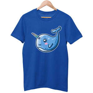 A blue unisex crewneck t-shirt on a wooden hanger with a design on its chest of a kawaii cute blue narwhal with a rainbow stripes horn facing to the left