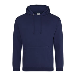 Picture of a Oxford blue colour AWDis college hoodie with neck cords and front pouch