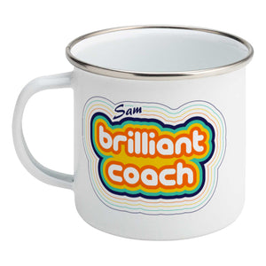 Personalised stripey brilliant coach design on a silver rimmed white enamel mug, showing LHS