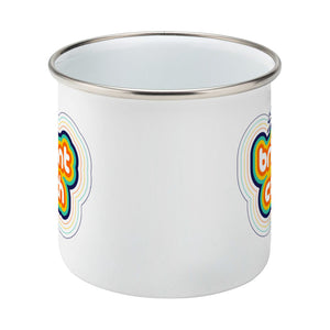 Personalised stripey brilliant coach design on a silver rimmed white enamel mug, side on