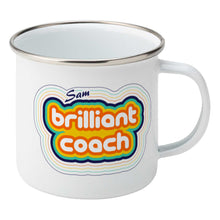 Load image into Gallery viewer, Personalised stripey brilliant coach design on a silver rimmed white enamel mug, showing RHS