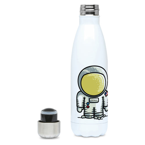 Personalised cute astronaut design on a white metal insulated drinks bottle, lid off