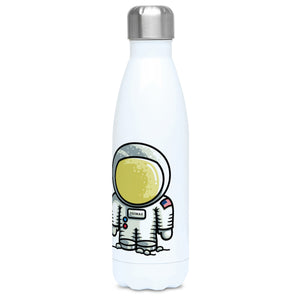 Personalised cute astronaut design on a white metal insulated drinks bottle, lid on