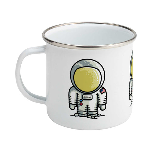Personalised cute astronaut design on a silver rimmed white enamel mug, showing LHS
