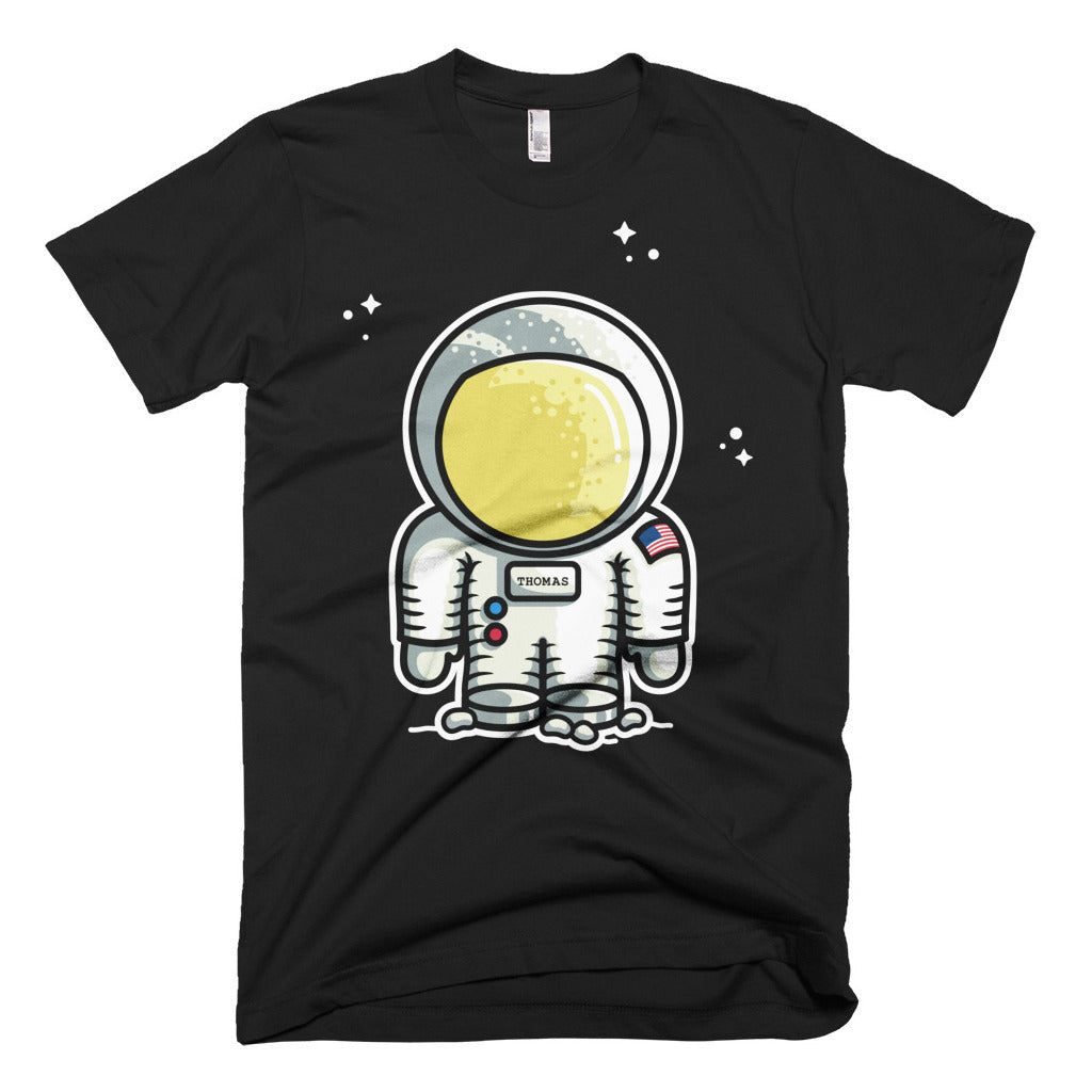 Personalised cute astronaut design design on a black mens cotton crewneck t-shirt
