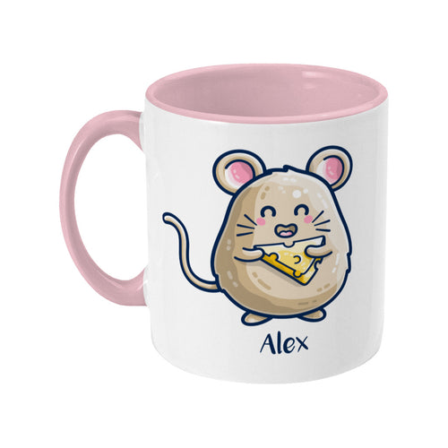 Mouse Holding Cheese Cute Personalised Ceramic Mug