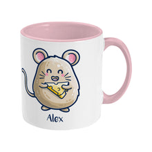 Load image into Gallery viewer, Mouse Holding Cheese Cute Personalised Ceramic Mug