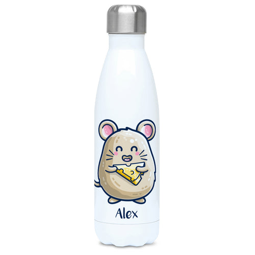Mouse Holding Cheese Cute Personalised Drinks Bottle
