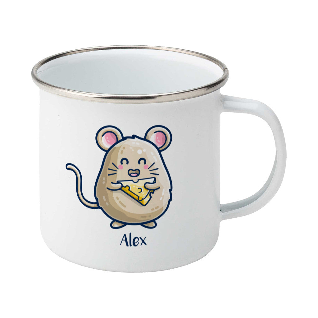 Mouse Holding Cheese Cute Personalised Silver Rimmed Enamel Mug