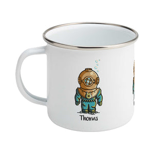 Personalised cute vintage deep sea diver design on a silver rimmed white enamel mug, showing LHS