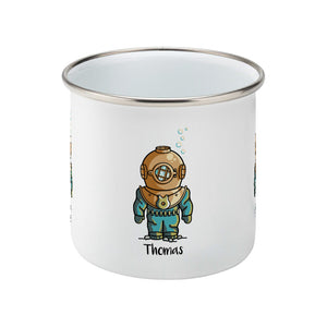 Personalised cute vintage deep sea diver design on a silver rimmed white enamel mug, side view