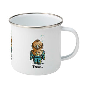 Personalised cute vintage deep sea diver design on a silver rimmed white enamel mug, showing RHS