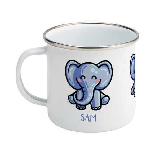 Personalised kawaii cute blue elephant design on a silver rimmed white enamel mug, showing LHS