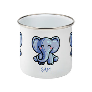 Personalised kawaii cute blue elephant design on a silver rimmed white enamel mug, side view