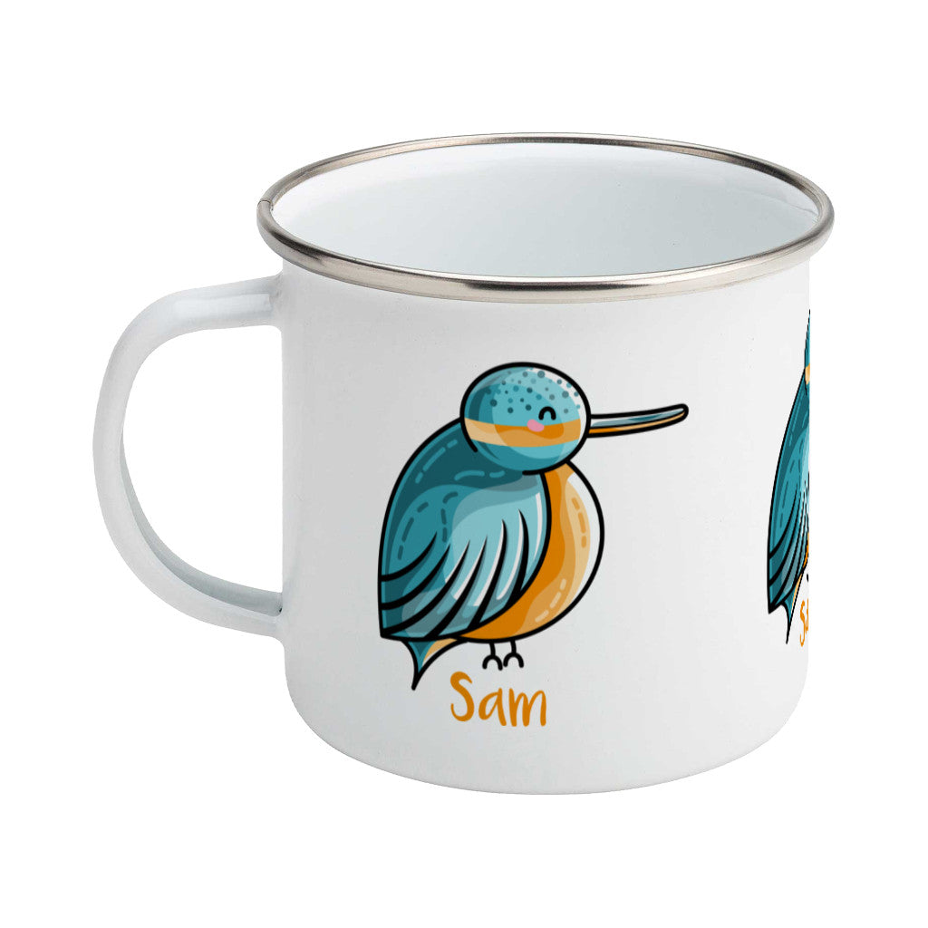 Cute turquoise and orange kingfisher design personalised with a name on a silver rimmed white enamel mug, showing LHS