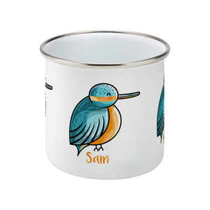 Cute turquoise and orange kingfisher design personalised with a name on a silver rimmed white enamel mug, middle view