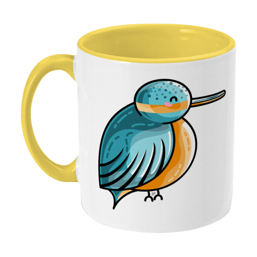 Turquoise and orange cute kingfisher design on a two toned yellow and white ceramic mug, showing LHS
