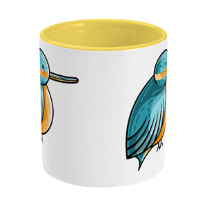 Turquoise and orange cute kingfisher design on a two toned yellow and white ceramic mug, middle view